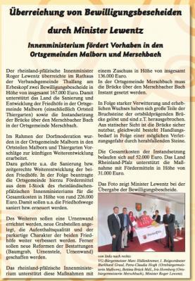 Vorschaubild zur Meldung: Überreichung von Bewilligungsbescheiden durch Minister Lewentz Innenministerium fördert Vorhaben in den Ortsgemeinden Malborn und Merschbach