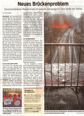 Foto zu Meldung: Neues Brückenproblem an den Gleisen am Oelpfad/Gartenstrasse