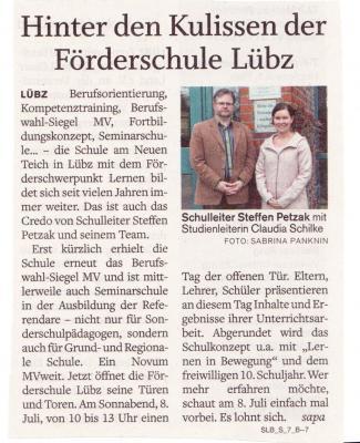 Foto zu Meldung: Hinter den Kulissen der Förderschule Lübz