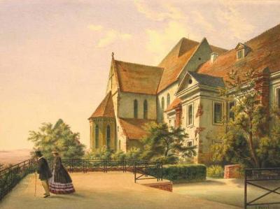 Terrasse des Schlosses in Nienburg (Saale), 1862, Jacobo (Giacomo) Pozzi