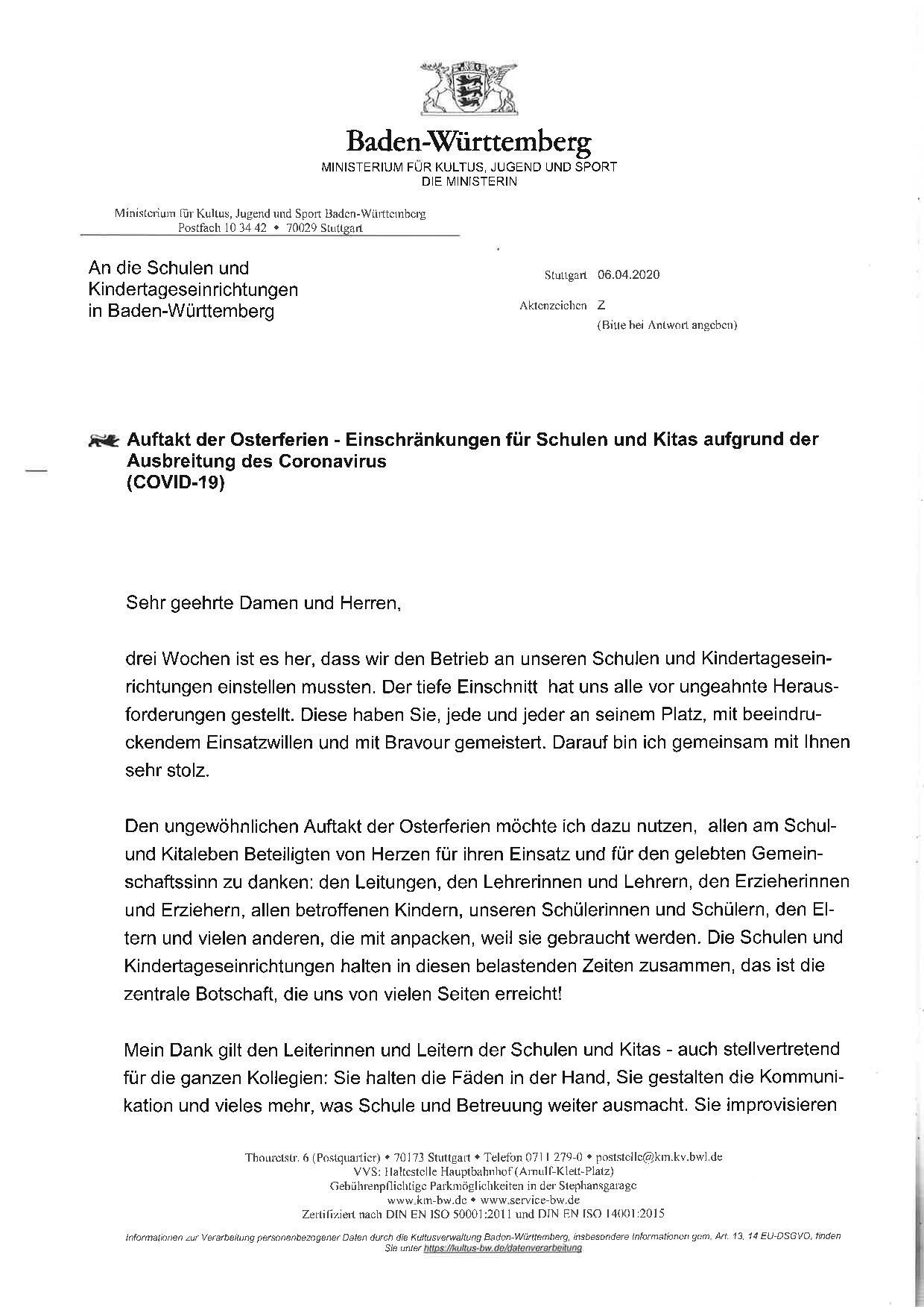 2020_04_06_Schreiben_Ministerin_Auftakt_Osterferien-001