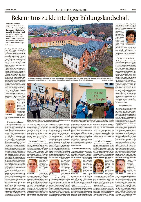 Freies Wort Landkreis Sonneberg zur Kreistagssitzung 14.04.2021 wegen SNP