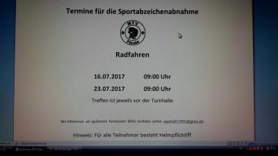 Vorschaubild zur Meldung: Radfahren für das Sportabzeichen am 16. und 23.07.2017