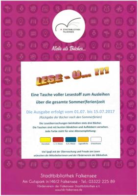 """Foto zur Meldung: """"Eine Tasche voller Lesestoff"""" - Noch bis zum 15. Juli läuft  die erneute Sommer(ferien)aktion der Stadtbibliothek Falkensee"""
