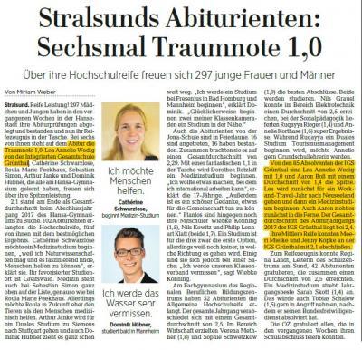 Foto zur Meldung: Stralsunds Abiturienten