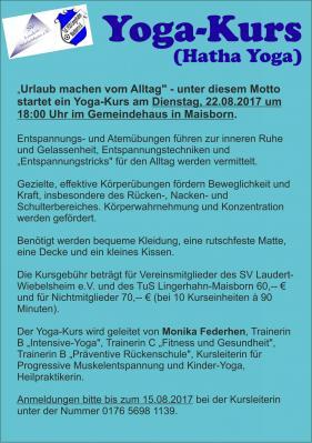 Yoga-Kurs des SV Laudert-Wiebelsheim & des TuS Lingerhahn-Maisborn