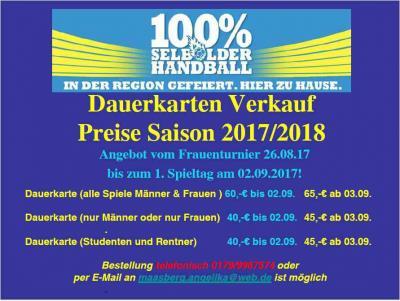 Vorschaubild zur Meldung: Handball Dauerkarten Vorverkauf beginnt - Rabattaktion bis 02.09.2017