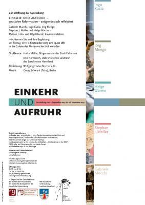 """Foto zur Meldung: Museum lädt am 1. September zur Ausstellungseröffnung """"EINKEHR UND AUFRUHR – 500 Jahre Reformation – zeitgenössisch reflektiert"""" ein"""