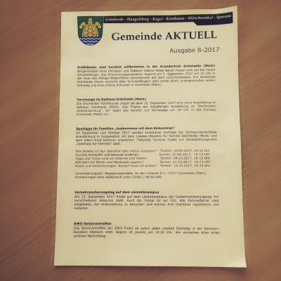 Foto zu Meldung: Gemeinde AKTUELL Ausgabe 08-2017