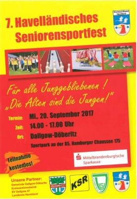 7. Havelländisches Seniorensportfest am 20. September 2017.