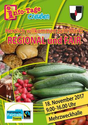 """Markt """"Regional und Fair"""" am 18.11.2017 in der Mehrzweckhalle"""