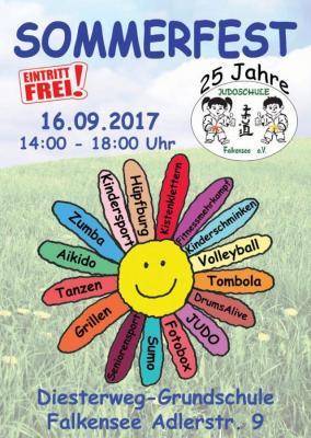 Die Judoschule Falkensee lädt am Samstag, 16. September 2017 zum Sommerfest auf dem Gelände der Diesterweg-Grundschule ein.