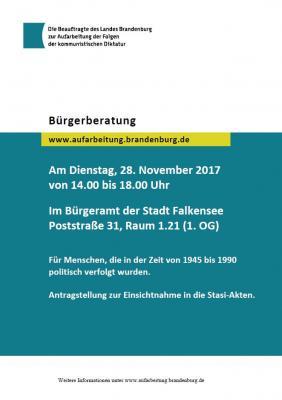 Bürgerberatung für politisch Verfolgte in der Sowjetischen Besatzungszone/DDR am 28. November im Bürgeramt