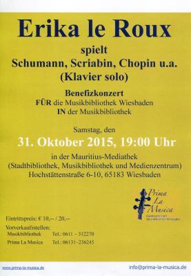 Benefizkonzert: Erika le Roux spielt Schumann, Scriabin, Chopin
