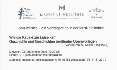 Vorschaubild zur Meldung: Klaus-Dieter Köhler: Wie die Kabale zur Luise kam - Geschichte und Geschichten berühmter Opernvorlagen