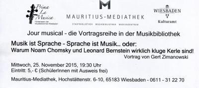 Vorschaubild zur Meldung: Gert Zimanowski: Musik ist Sprache - Sprache ist Musik... oder: Warum Noam Chromsky und Leonard Bernstein wirklich kluge Kerle sind!