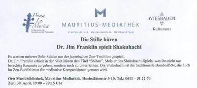 """Vorschaubild zur Meldung: Dr. Jim Franklin spielt Shakuhachi: """"Die Stille hören"""""""