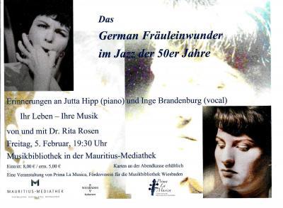 """Vorschaubild zur Meldung: Dr. Rita Rosen: Das German Fräuleinwunder im Jazz der 50er Jahre """"Erinnerungen an Jutta Hipp (piano) und Inge Brandenburg (vocal)"""