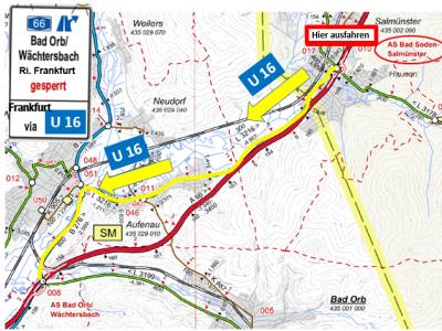 Vorschaubild zur Meldung: Sperrung der Anschlussstelle Bad Orb /Wächtersbach in FR Frankfurt