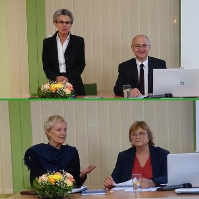 Oben: Dr. Erika Schwarz,  Gerhard Schwarz Unten: Uta Hülstoff-Dupuy, Gisèle Cailloux (v.l.)