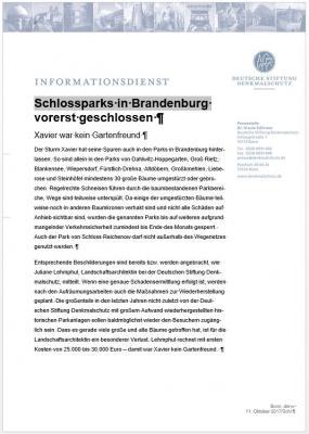Bild der Meldung: Schlossparks in Brandenburg vorerst geschlossen