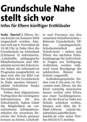 Foto zu Meldung: 06.11.2017 ab 19:30 Uhr: Grundschule Nahe stellt sich vor!