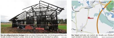 Vorschaubild zur Meldung: Stadel brannte: Es war wieder Brandstiftung