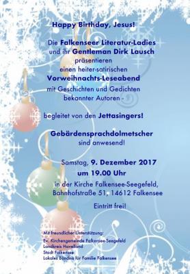 """Die Literatur-Ladies und ihr Gentleman laden zum Leseabend """"Happy Birthday, Jesus!"""""""