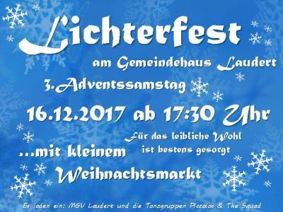 Vorschaubild zur Meldung: Aufruf für Angebote zum Lichterfest in Laudert am 16.12.2017