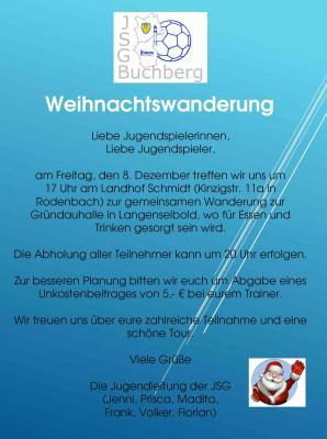 Vorschaubild zur Meldung: Weihnachtswanderung der JSG Buchberg am 08.12.2017