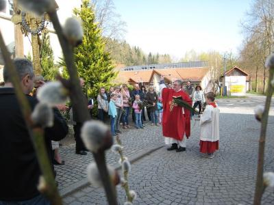 Foto zur Meldung: Pfarrer Ignacy Kobus weiht Palmzweige