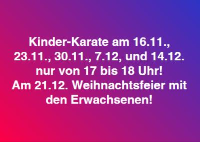 Vorschaubild zur Meldung: Kinder-Karate in den nächsten Wochen eingeschränkt
