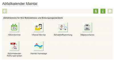 Unter http://maintal.muellmax.de können sich Bürgerinnen und Bürger ab 2018 online an Abfuhrtermine per E-Mail erinnern lassen, den Kalender in verschiedenen Formaten herunterladen oder schauen, wo der nächste Glascontainer steht.