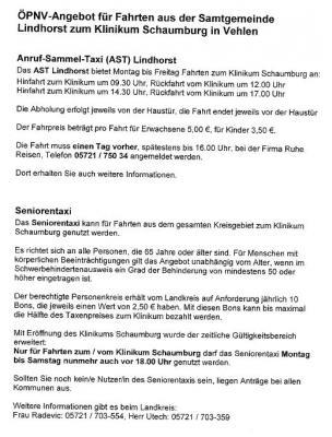ÖPNV-Angebot Klinikum Schaumburg in Vehlen