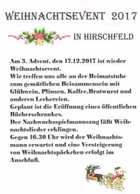 Vorschaubild zur Meldung: Weihnachtsevent in Hirschfeld