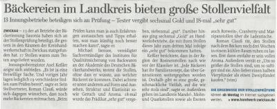 Zeitungsartikel Freie Presse zur Stollenprüfung