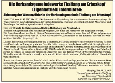 Vorschaubild zur Meldung: Ablesung der Wasserzähler in der Verbandsgemeinde Thalfang am Erbeskopf