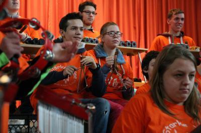 Foto zur Meldung: Unser Auftritt in der Wichernschule (Starke Töne)
