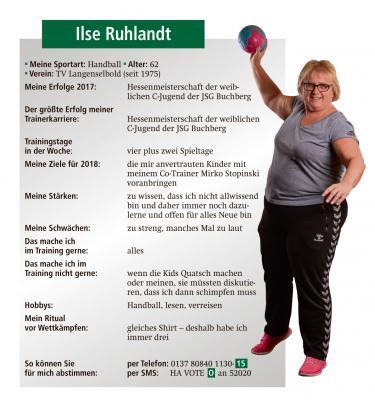 Vorschaubild zur Meldung: Noch bis 22.01.2018 Stimmen abgeben!!!   Ilse Ruhlandt ist nominiert zur Wahl des/der Trainers/Trainerin 2017 - Jetzt Stimmen abgeben