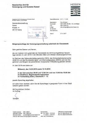 Vorschaubild zur Meldung: Bürgersprechtage des Hess. Versorgungsamtes 2018