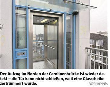 Vorschaubild zur Meldung: Vandalismus an der Tür des Fahrstuhls