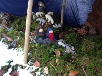 Unser Krippenweg, auf dem die Kinder jeden Tag mit Maria, Josef und dem Eselchen unterwegs waren.