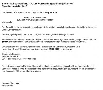 Vorschaubild zur Meldung: Stellenausschreibung - Azubi Verwaltungsfachangestellte/r