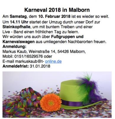 Vorschaubild zur Meldung: Aufruf für Karnevalgruppen (Zugteilnehmer)