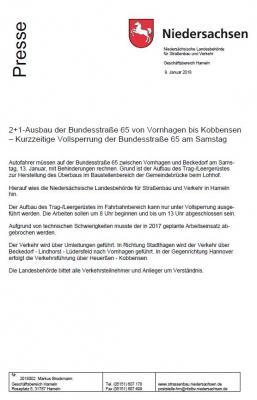 2+1-Ausbau der Bundesstraße 65 von Vornhagen bis Kobbensen - kurzzeitige Vollsperrung der Bundesstraße 65 am Samstag