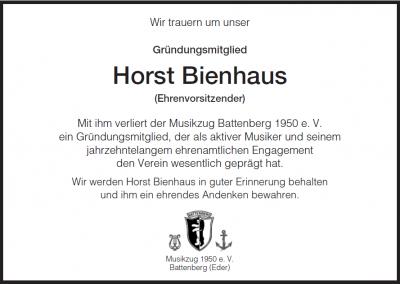 Foto zur Meldung: Nachruf Ehrenvorsitzender Horst Bienhaus