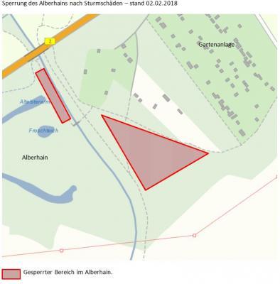 Vorschaubild zur Meldung: Teilsperrung Alberthain wegen Astbruch