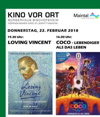"""Bei """"Kino vor Ort"""" im Bürgerhaus in Bischofsheim stehen am 22. Februar die Filme """"Coco – Lebendiger als das Leben"""" und """"Loving Vincent"""" auf dem Programm."""
