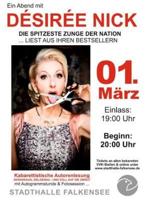 """Am Donnerstag, 1. März 2018 liest die """"spitzeste Zunge der Nation"""" in der Stadthalle Falkensee aus ihren Bestsellern."""