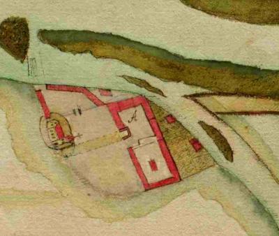 Gezeichnete Ansicht der Burg Rogätz, ca. aus dem Jahre 1570